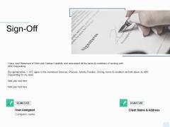 Copywriting Service Sign Off Ppt Portfolio Brochure PDF