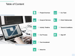 Copywriting Service Table Of Content Ppt Show Rules PDF