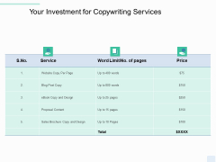 Copywriting Service Your Investment Ppt Icon Skills PDF
