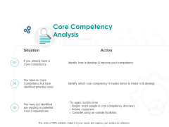 Core Competency Analysis Action Ppt PowerPoint Presentation Infographics Background
