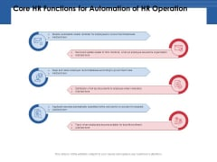 Core Hr Functions For Automation Of HR Operation Ppt PowerPoint Presentation Slides Icon PDF