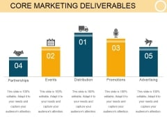Core Marketing Deliverables Template 1 Ppt PowerPoint Presentation Designs