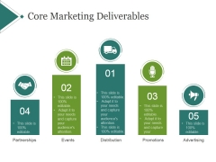 Core Marketing Deliverables Template 1 Ppt PowerPoint Presentation Icon