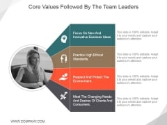 Core Values Followed By The Team Leaders Ppt PowerPoint Presentation File Template