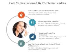 Core Values Followed By The Team Leaders Ppt PowerPoint Presentation Inspiration