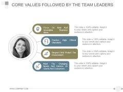 Core Values Followed By The Team Leaders Ppt PowerPoint Presentation Visuals