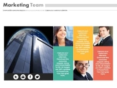 Corporate Building With Marketing Team Powerpoint Slides