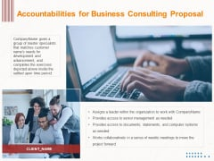 Corporate Consulting Accountabilities For Business Consulting Proposal Ppt Professional Background Image PDF