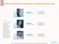 Corporate Consulting Client Testimonials For Business Consulting Proposal Business Consulting Demonstration PDF
