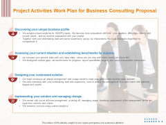 Corporate Consulting Project Activities Work Plan For Business Consulting Proposal Inspiration PDF