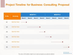 Corporate Consulting Project Timeline For Business Consulting Proposal Ppt Infographics Example PDF