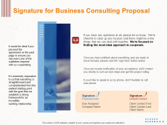 Corporate Consulting Signature For Business Consulting Proposal Ppt Infographics Design Templates PDF