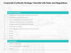Corporate Continuity Strategy Checklist With Rules And Regulations Ppt PowerPoint Presentation Diagram Templates PDF