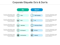 Corporate Etiquette Dos And Donts Ppt PowerPoint Presentation Infographics Clipart