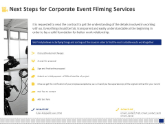 Corporate Event Filming Next Steps For Corporate Event Filming Services Ppt Icon Slides PDF