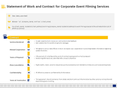 Corporate Event Filming Statement Of Work And Contract For Corporate Event Filming Services Formats PDF