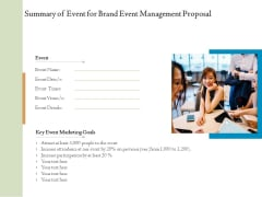 Corporate Event Planning Management Summary Of Event For Brand Event Management Proposal Graphics PDF