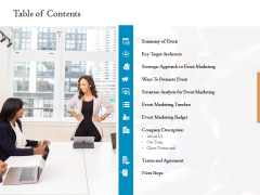 Corporate Event Planning Management Table Of Contents Ppt Model Infographics PDF