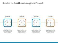 Corporate Event Planning Management Timeline For Brand Event Management Proposal Infographics PDF