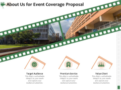 Corporate Event Videography Proposal About Us For Event Coverage Proposal Service Icons PDF