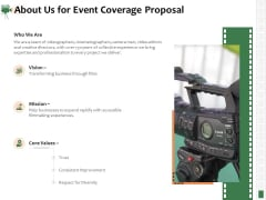 Corporate Event Videography Proposal About Us For Event Coverage Proposal Themes PDF