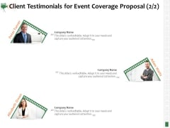 Corporate Event Videography Proposal Client Testimonials For Event Coverage Proposal Structure PDF