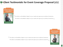 Corporate Event Videography Proposal Client Testimonials For Event Coverage Proposal Teamwork Clipart PDF