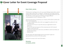 Corporate Event Videography Proposal Cover Letter For Event Coverage Proposal Summary PDF