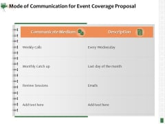 Corporate Event Videography Proposal Mode Of Communication For Event Coverage Proposal Elements PDF