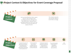 Corporate Event Videography Proposal Project Context And Objectives For Event Coverage Proposal Background PDF