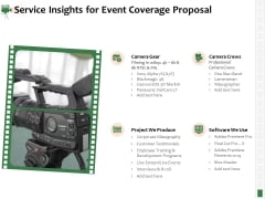 Corporate Event Videography Proposal Service Insights For Event Coverage Proposal Background PDF