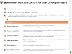 Corporate Event Videography Proposal Statement Of Work And Contract For Event Coverage Proposal Demonstration PDF