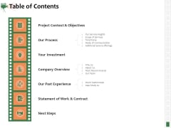 Corporate Event Videography Proposal Table Of Contents Summary PDF