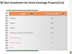 Corporate Event Videography Proposal Your Investment For Event Coverage Proposal Filming Infographics PDF