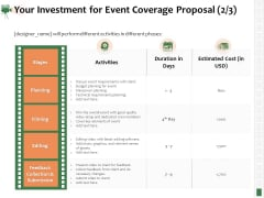 Corporate Event Videography Proposal Your Investment For Event Coverage Proposal Information PDF