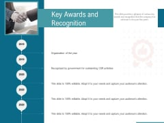 Corporate Execution And Financial Liability Report Key Awards And Recognition Portrait PDF