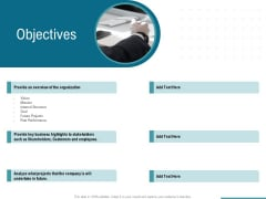 Corporate Execution And Financial Liability Report Objectives Icons PDF
