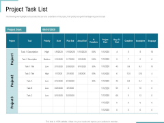 Corporate Execution And Financial Liability Report Project Task List Background PDF