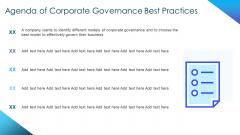 Corporate Governance Best Practices Agenda Of Corporate Governance Best Practices Diagrams PDF