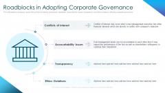 Corporate Governance Best Practices Roadblocks In Adopting Corporate Governance Brochure PDF