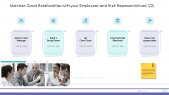 Corporate Governance Maintain Good Relationships With Your Employees And Their Representatives Icon Designs PDF