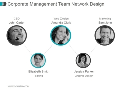Corporate Management Team Network Design Ppt PowerPoint Presentation Visuals