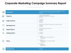 Corporate Marketing Campaign Summary Report Ppt PowerPoint Presentation File Sample PDF
