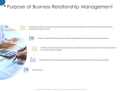 Corporate Networking Relationship Management Purpose Of Business Relationship Management Icons PDF