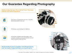 Corporate Occasion Videography Proposal Our Guarantee Regarding Photography Brochure PDF