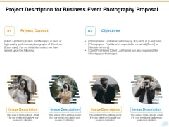 Corporate Occasion Videography Proposal Project Description For Business Event Photography Proposal Clipart PDF