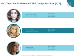 Corporate PPT Design Our Team For Professional PPT Design Services Content Template PDF