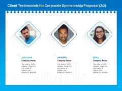 Corporate Partnership Client Testimonials For Corporate Sponsorship Proposal Joe Brochure PDF