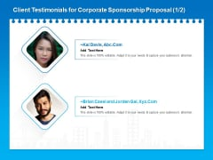 Corporate Partnership Client Testimonials For Corporate Sponsorship Proposal Microsoft PDF