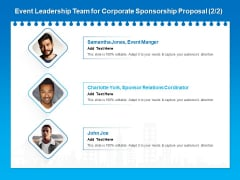 Corporate Partnership Event Leadership Team For Corporate Sponsorship Proposal Add Graphics PDF